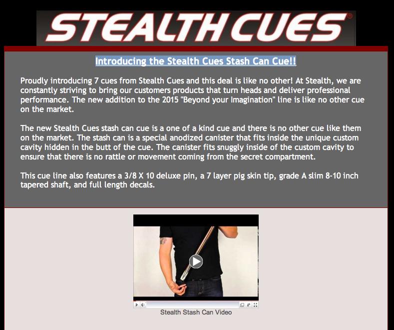 Stealth Cues Cash 2